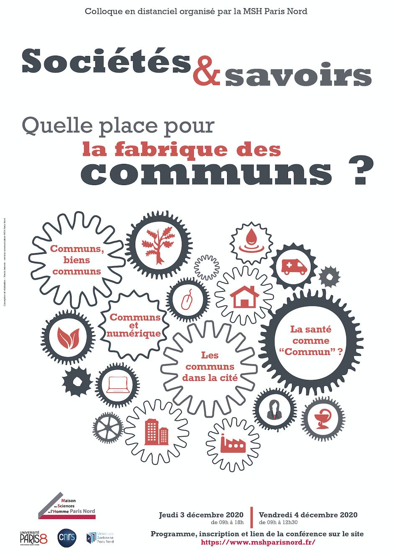 Colloque, Sociétés et savoirs : quelle place pour la fabrique des communs ? (visio)