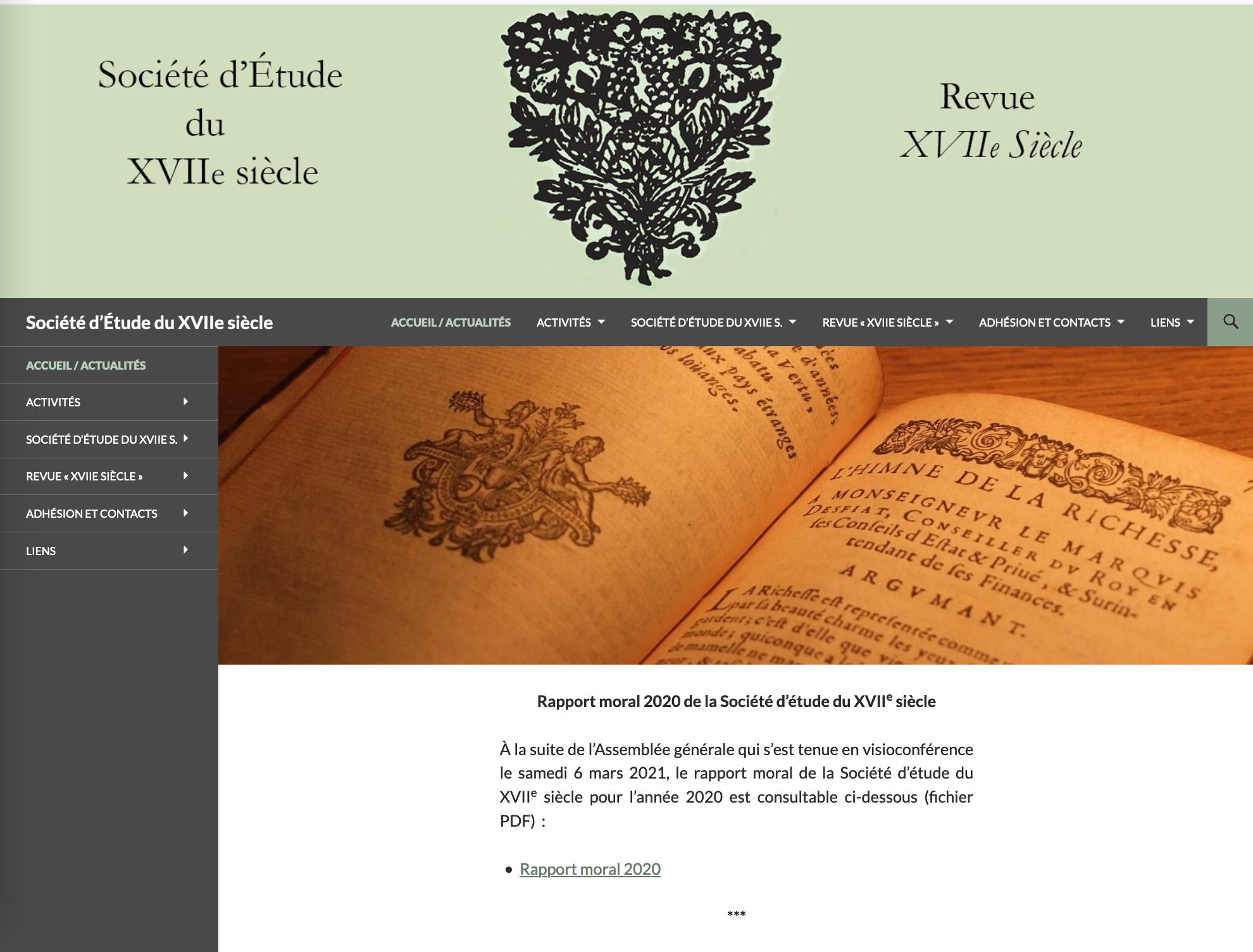 Aide à l'édition de la Société d'étude du XVIIe siècle
