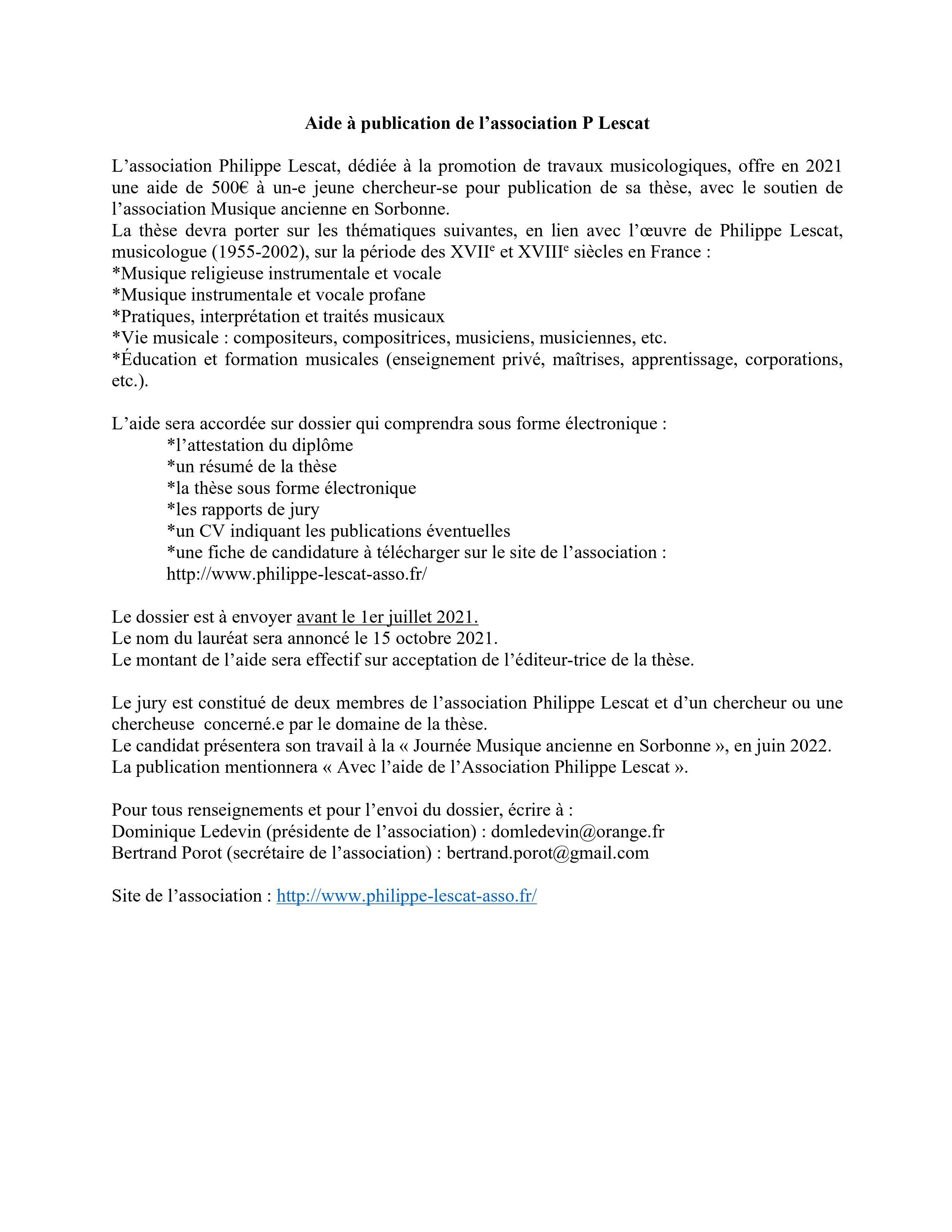 Aide à publication de l'association P. Lescat}