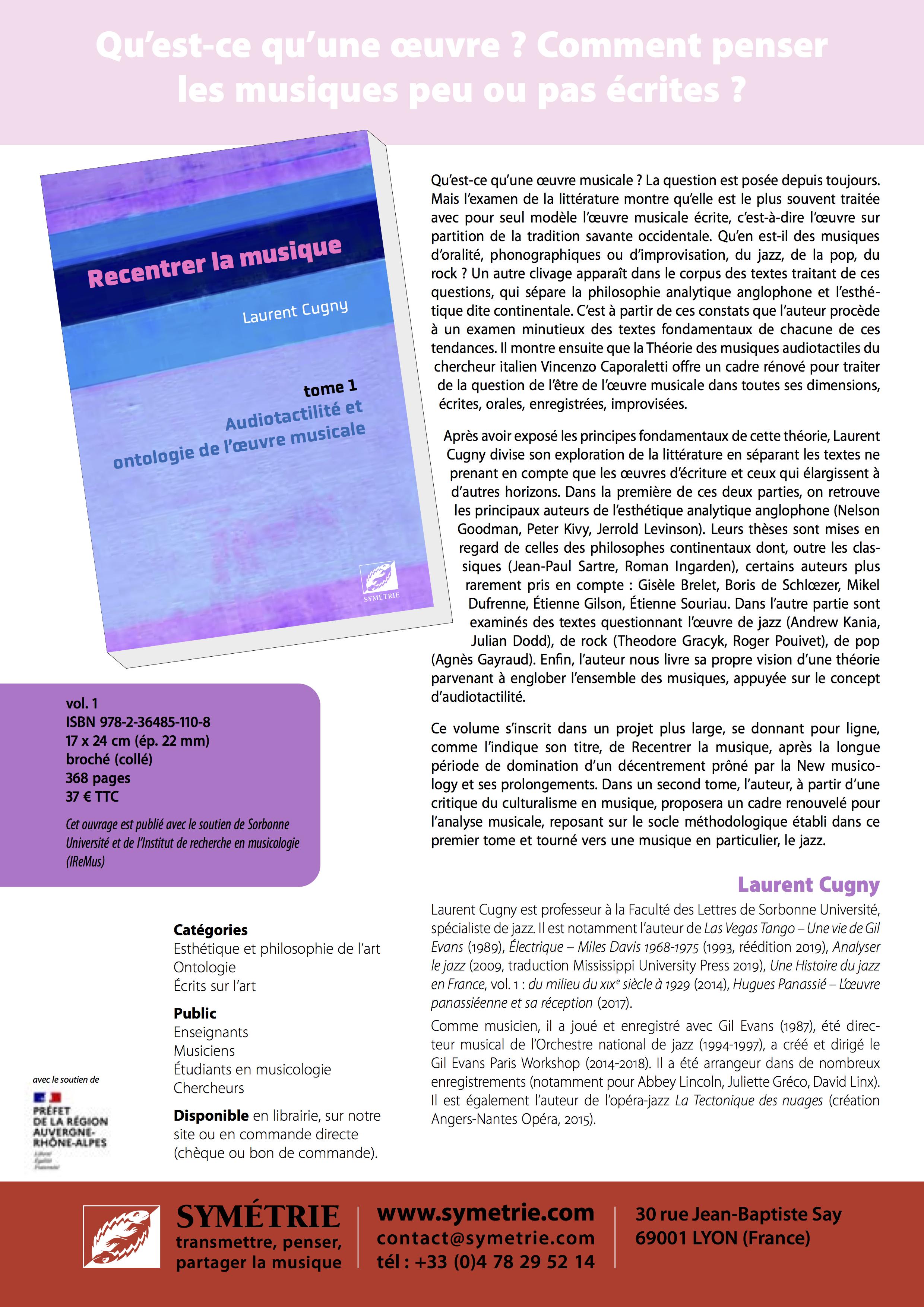 """Parution de l'ouvrage """"Recentrer la musique - Tome 1 : audiotactilité et ontologie de l'œuvre musicale""""}"""