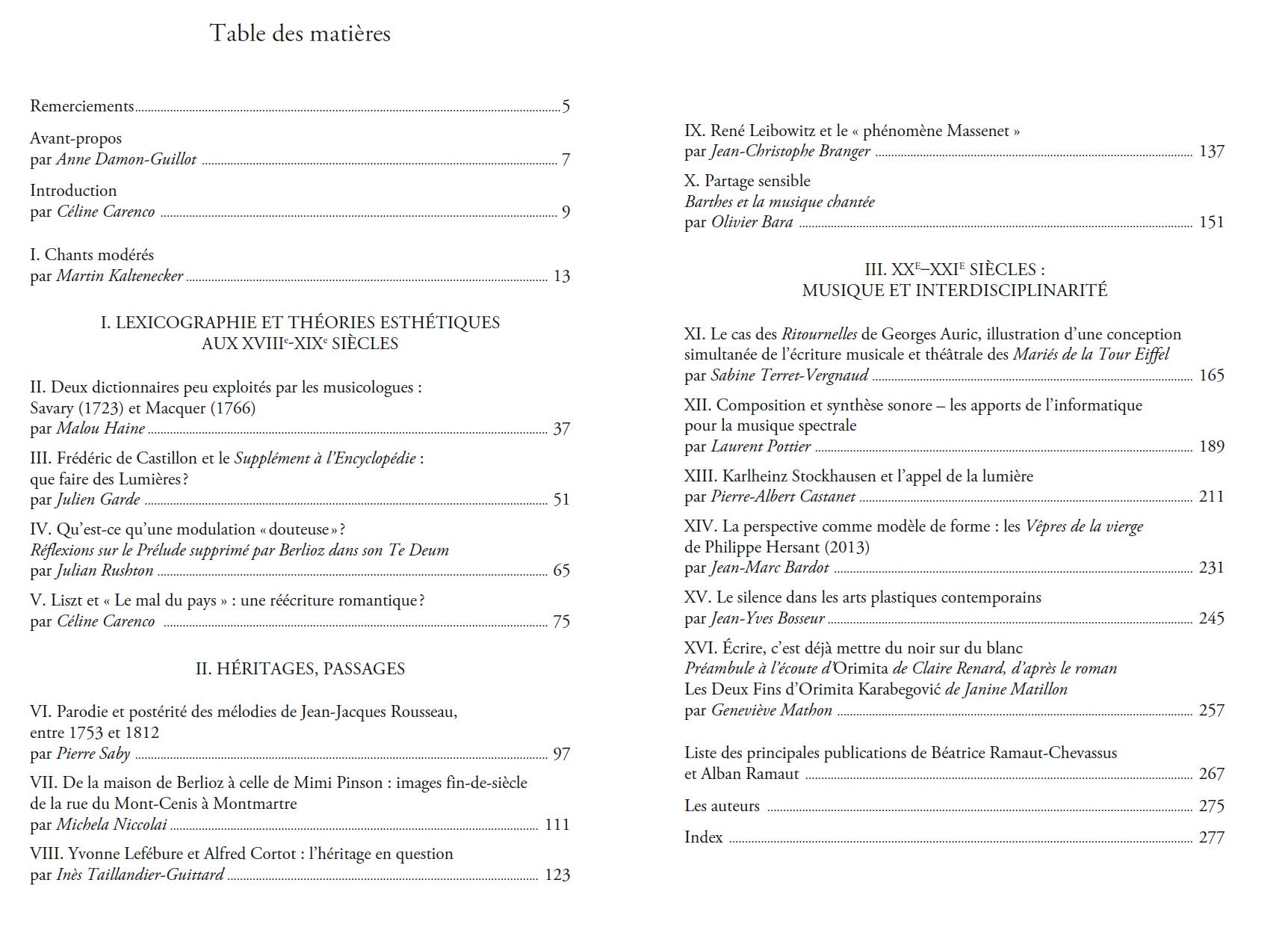 Parution : Une musicologie entre textes et arts. Hommages à Béatrice Ramaut-Chevassus et Alban Ramaut}